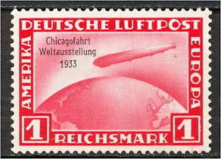 Germany Chicago Fair Zeppelin stamps 1 Mark