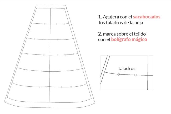 Cómo hacer taladros al patrón de la neja de flamenca con un sacabocados