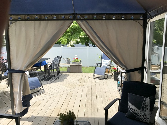 DIY Gazebo curtains tied back for sunlight