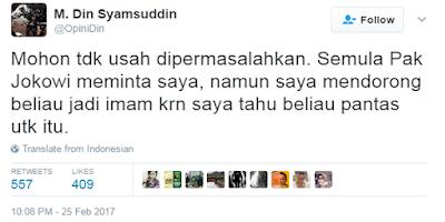 Geger Jokowi Jadi Imam Salat,  Din Syamsuddin: Semula Pak Jokowi meminta saya, Namun saya mendorong beliau jadi Imam