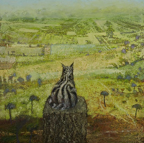 """Cat"" painting by Simon Garden - oil on panel, 2017 