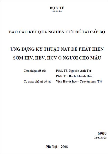 Ứng dụng kỹ thuật NAT để phát hiện sớm HIV, HBV, HCV ở người cho máu