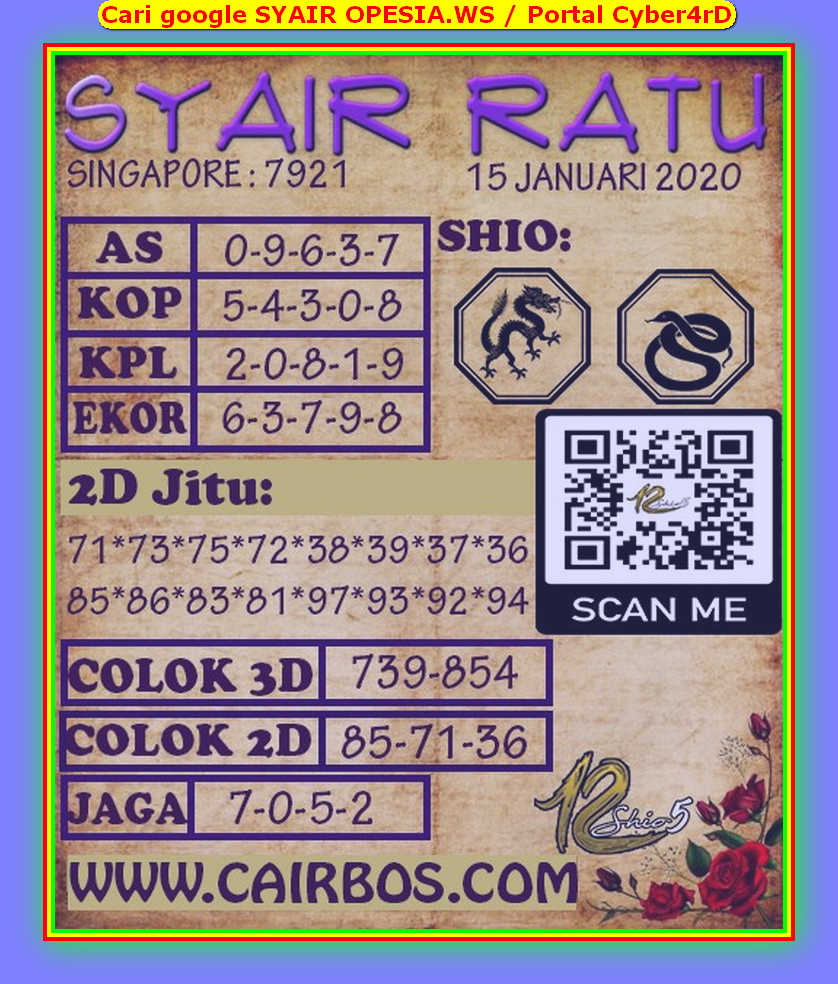 Kode syair Singapore Rabu 15 Januari 2020 95