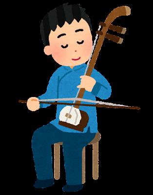 二胡を演奏する人のイラスト(男性)