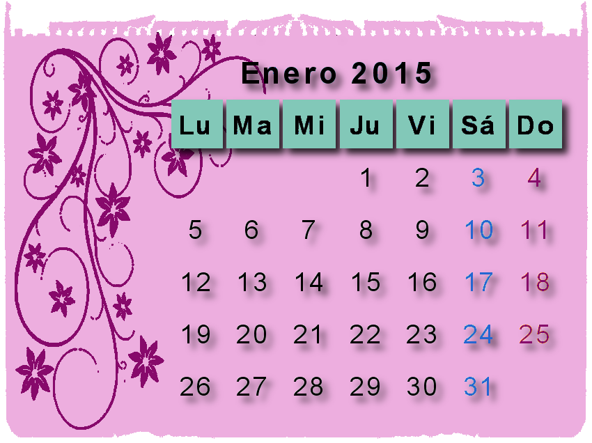calendario,almanaque,2015,png,shabby chic
