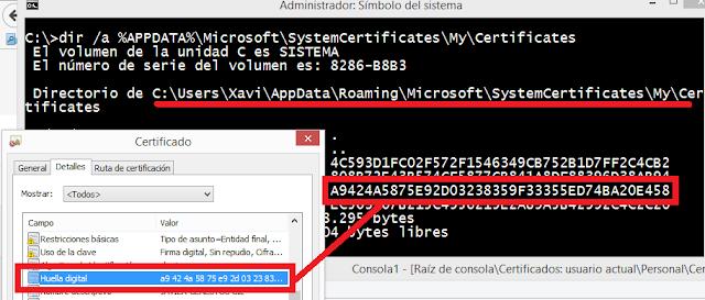 Windows: ¿Dónde se guardan los certificados?