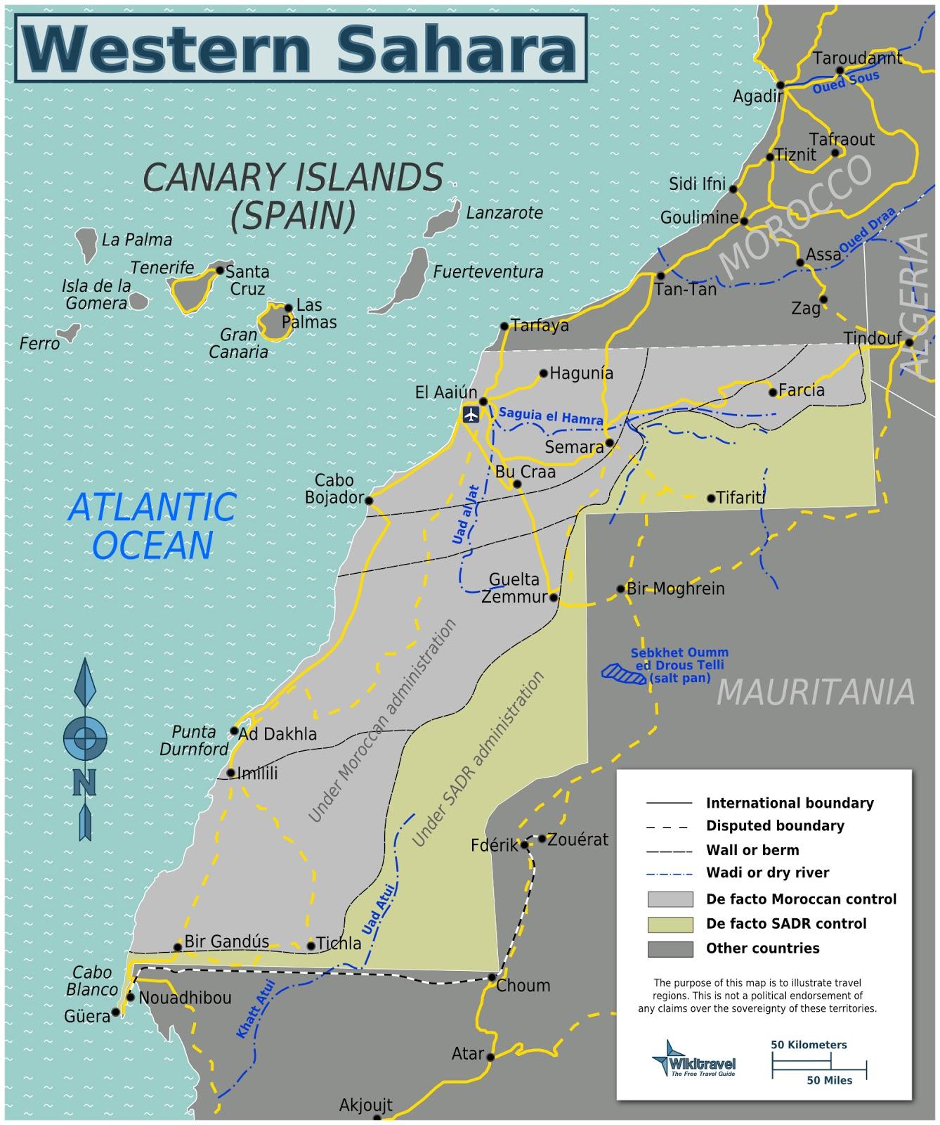 Sahara Ocidental | Mapas Geográficos de Sahara Ocidental