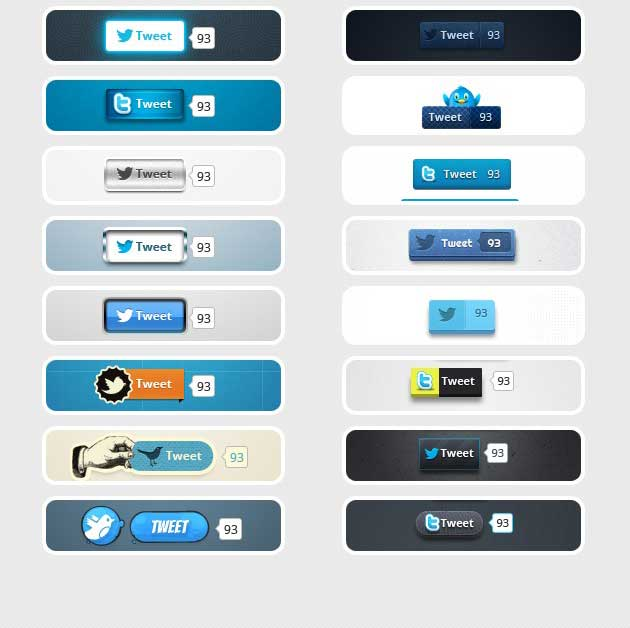 Free Twitter Button Fully Editable PSD