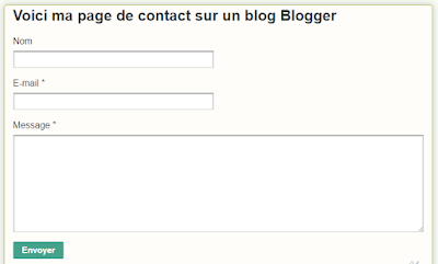 Résultat final de mon formulaire de contact sur un blog Blogger