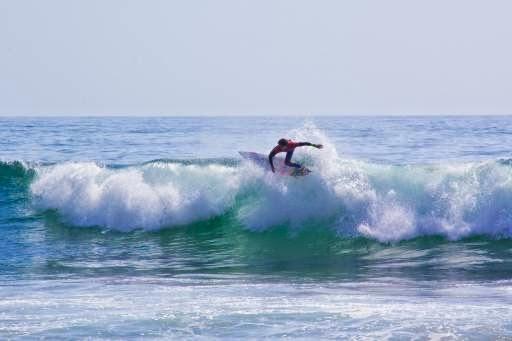 Un surfista cavalca un'onda a Maui