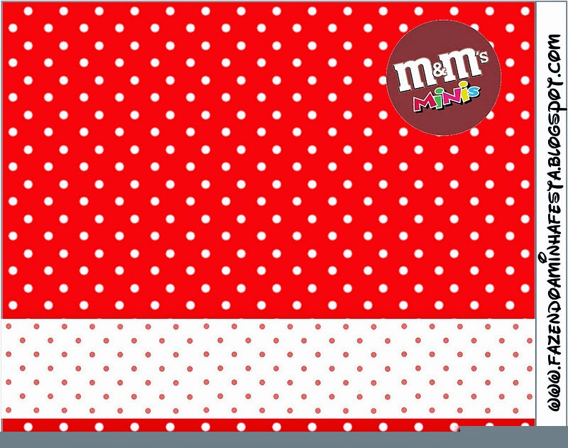 Red and White Polka Dots Free Printable M&M Candy Bar Labels.