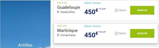 Voyage Guadeloupe ou Martinique 450 euros