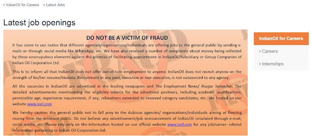Indian Oil warning against fake appointment letters and asking for money