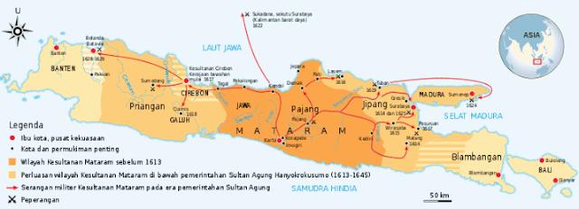 Cakupan terluas Kesultanan Mataram dalam masa pemerintahan Sultan Agung Adi Prabu Hanyakrakusuma (1613-1645)