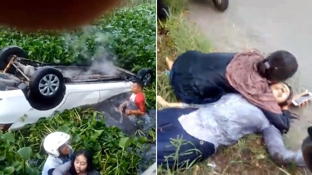 Detik-detik Penyelamatan Penumpang Avanza yang Tercebur Parit, Korban Terjebak di Mobil Terbalik