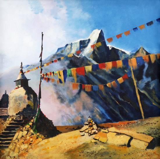 Leh, painting by Maya Wakankar (part of her portfolio on www.indiaart.com)