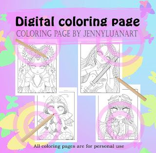 anime doodle girls PDF coloring page bundle part 3