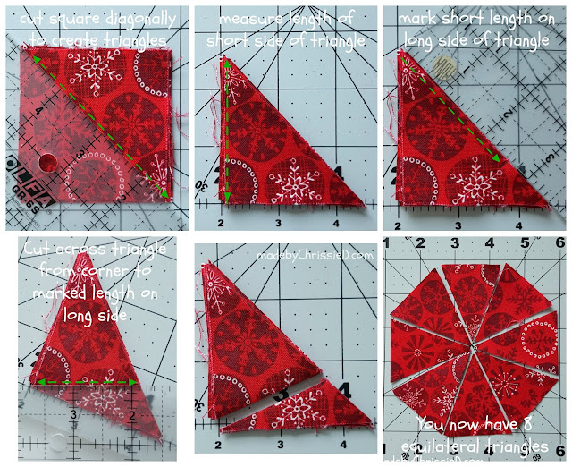 How To Cut 8 Equilateral Fabric Triangles From A Square