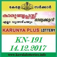 KARUNYA PLUS (KN-191) LOTTERY ON DECEMBER 14, 2017