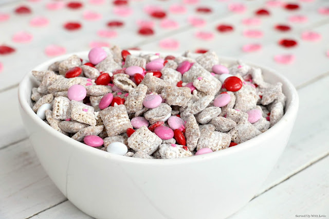 Easy, fun and festive Cupid Chow recipe from Served Up With Love