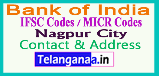 Bank of India IFSC Codes MICR Codes in Nagpur City
