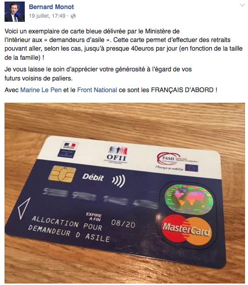 carte bancaire pour demandeur d asile Carte bleue pour migrants : quand Le Monde fait de la désinformation