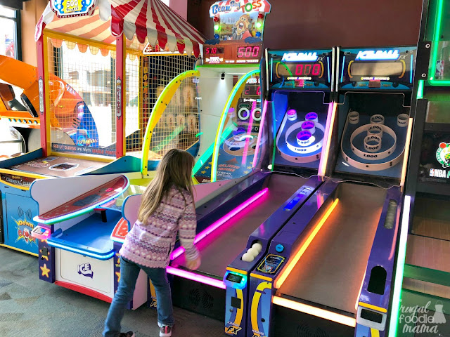 If you & your family are looking for a little waterless indoor fun during your stay at Massanutten, then be sure to head over to Diamond Jim's Arcade located in the same building as the indoor water park.