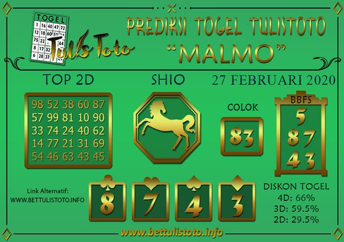 Prediksi Togel MALMO TULISTOTO 27 FEBRUARI 2020
