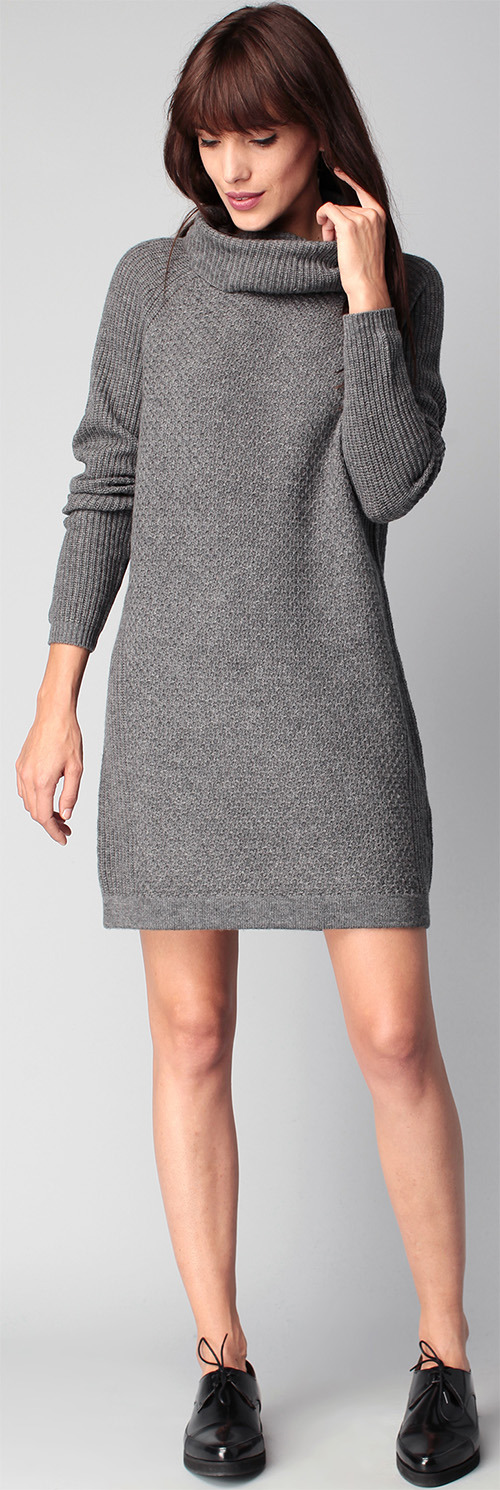Robe pull Marie Sixtine grise col roulé