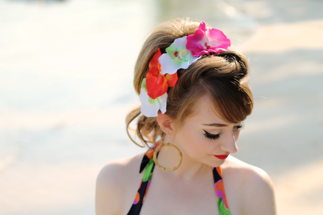 Tropical orchid hair flowers pin-up ponytail