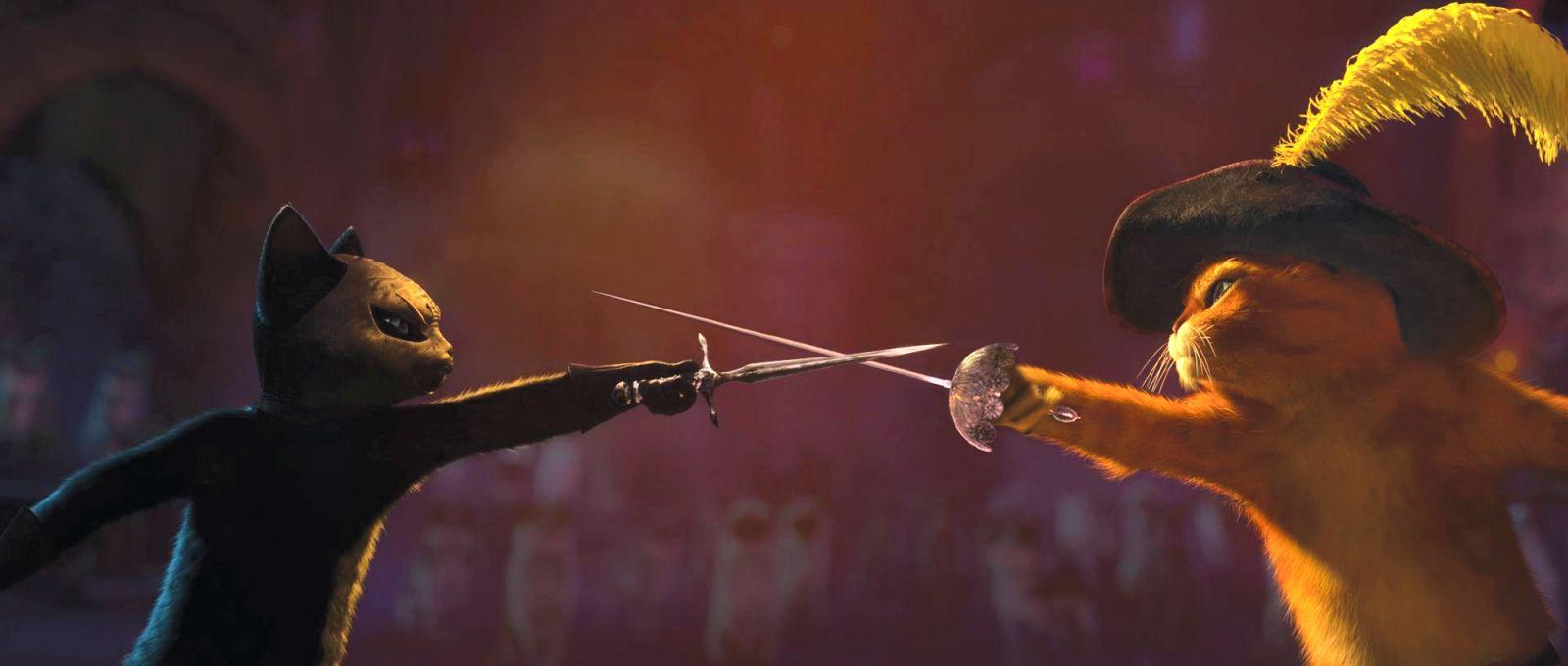 Puss swordfighting in Puss in Boots 2011 animatedfilmreviews.filminspector.com