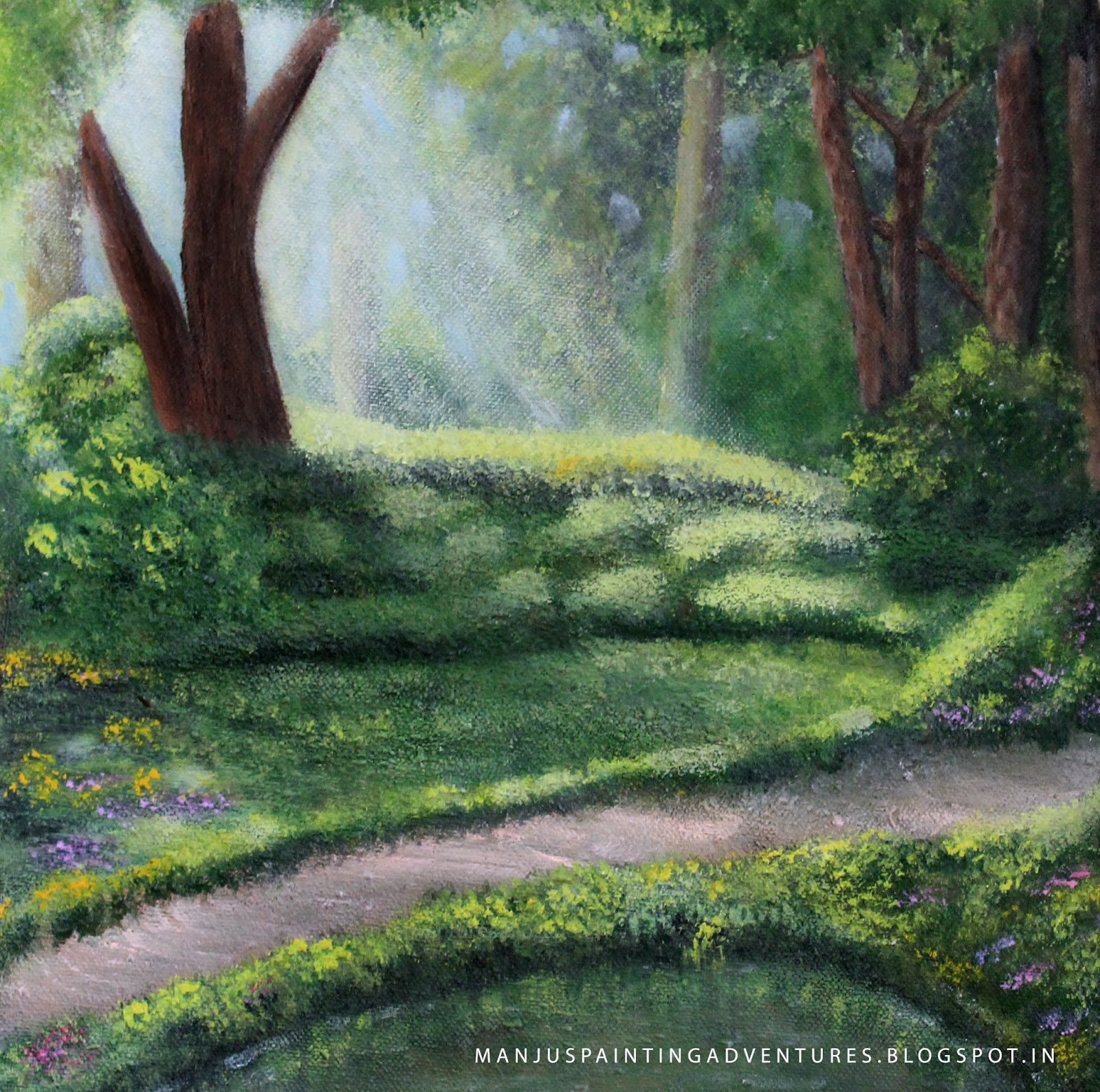 forest - light - landscape - painitng - by manju raj