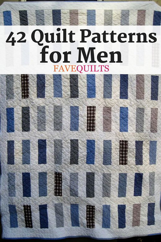 42 Free Quilt Patterns for Men collected By Jennifer Hendrix from FaveQuilts