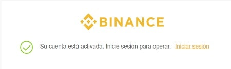 mail confirmado en binance