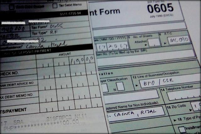 BIR Form 0605