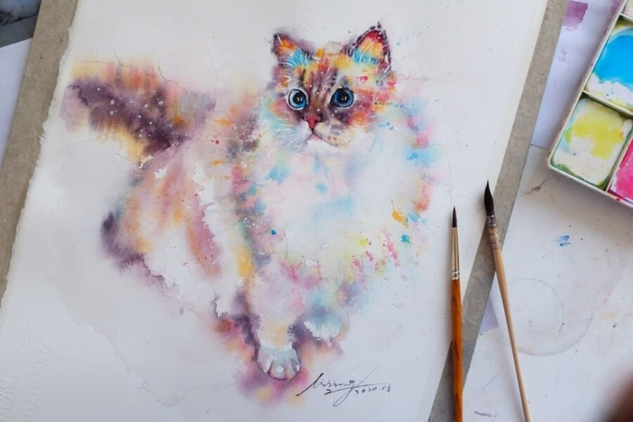 03-Cat-Watercolor-Paintings-liviing-www-designstack-co