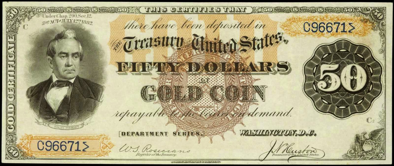 US currency 1882 50 Dollar Gold Certificate Silas Wright