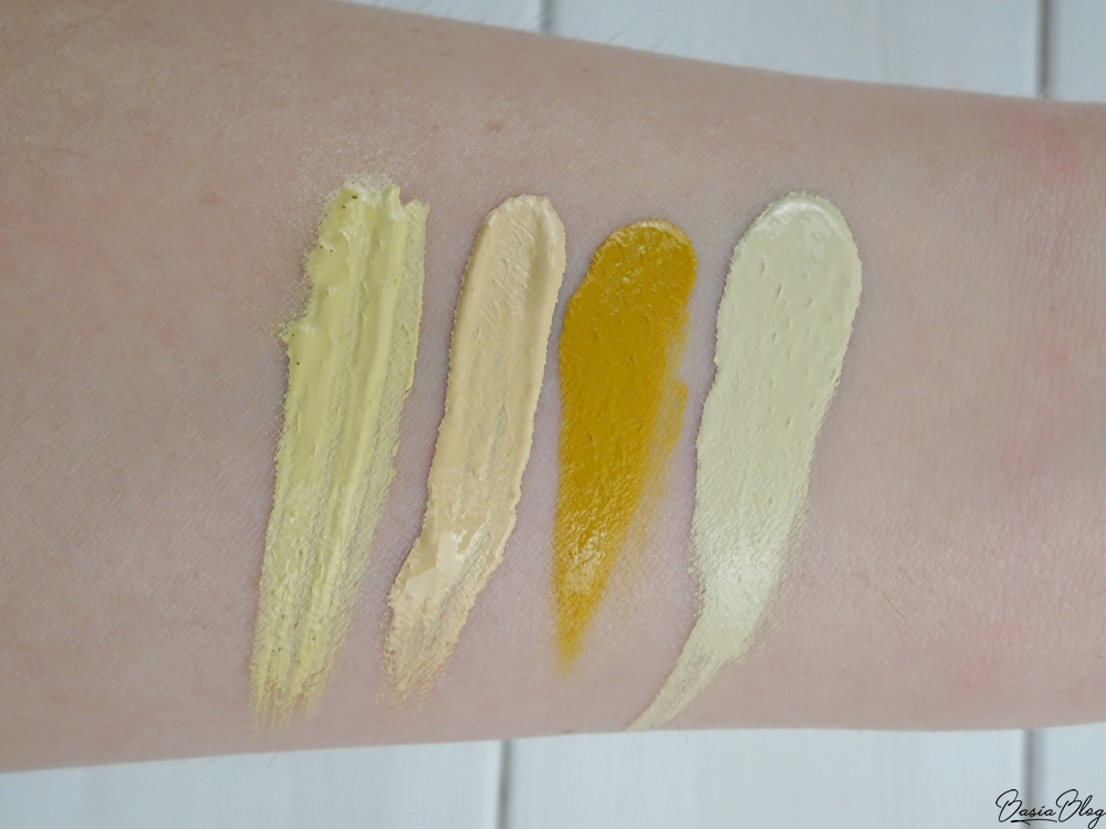 korektor L.A.Girl Light Yellow, korektor Makeup Revolution Conceal & Correct Banana, MUFE / Make Up For Ever Oil Based Chromatic Mix Yellow, Douglas Collection Drop & Mix Light Yellow