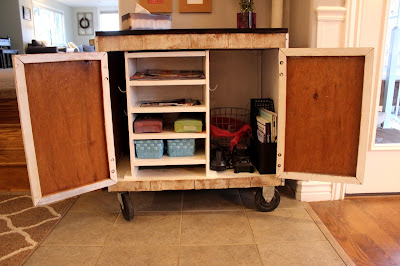 DIY kitchen cart with butcher block top