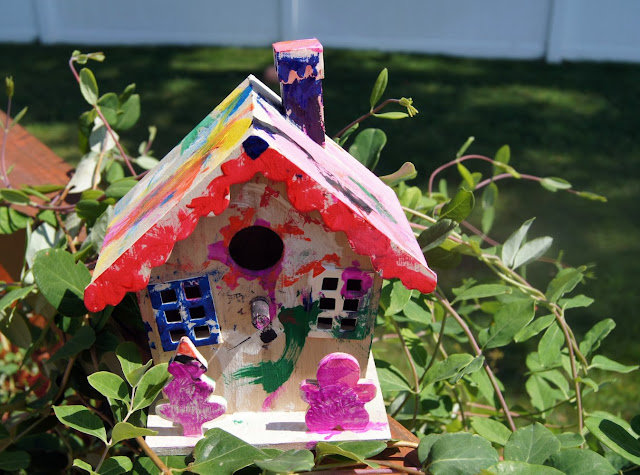 painting_a_birdhouse Toddlers Painting Birdhouse Finished