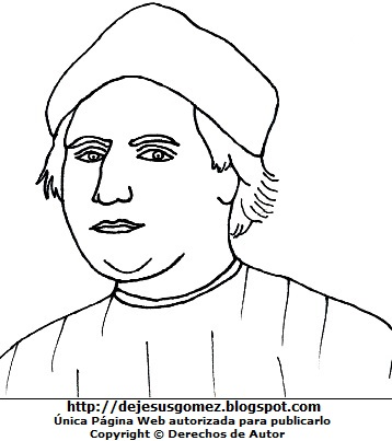 Ilustración de Cristobal Colón para colorear pintar imprimor. Dibujo de Cristobal Colón de Jesus Gómez