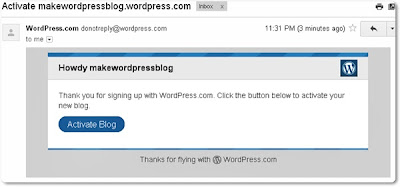 Activate Your Wordpress.com Blog
