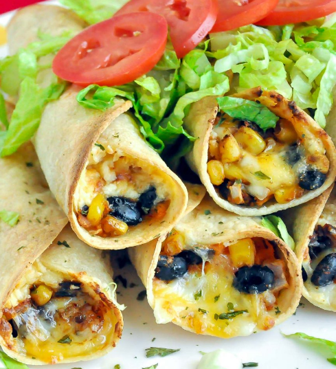 BAKED BLACK BEAN AND SWEET POTATO FLAUTAS #potato #delicious