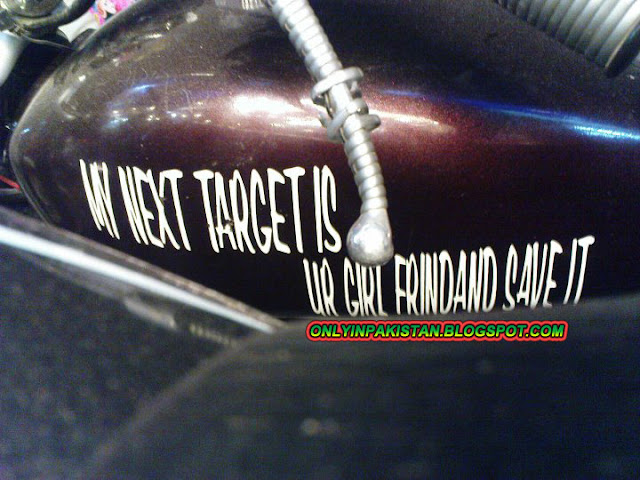 Funny Message written on motorbike