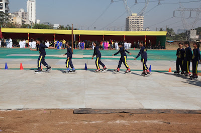 EuroSchool students of Grade 3 and 4 ice-skate at the Annual Sports Day at EuroSchool Airoli
