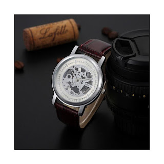SOXY Top Luxury Fashion Quartz Men's Hollow Watch Jam Tangan Pria - Brown White [SOXY0029D-W]