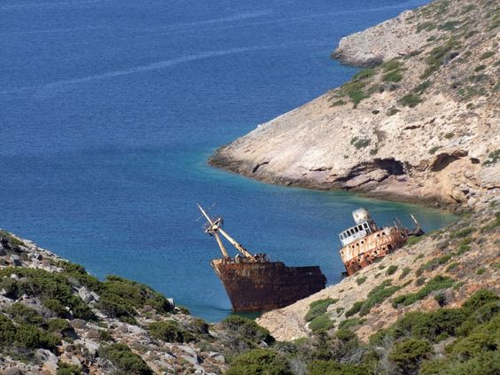 Liveros Bay, with the shipwreck of the Olympia Amorgos