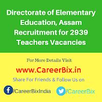 Directorate of Elementary Education, Assam Recruitment for 2939 Teachers Vacancies
