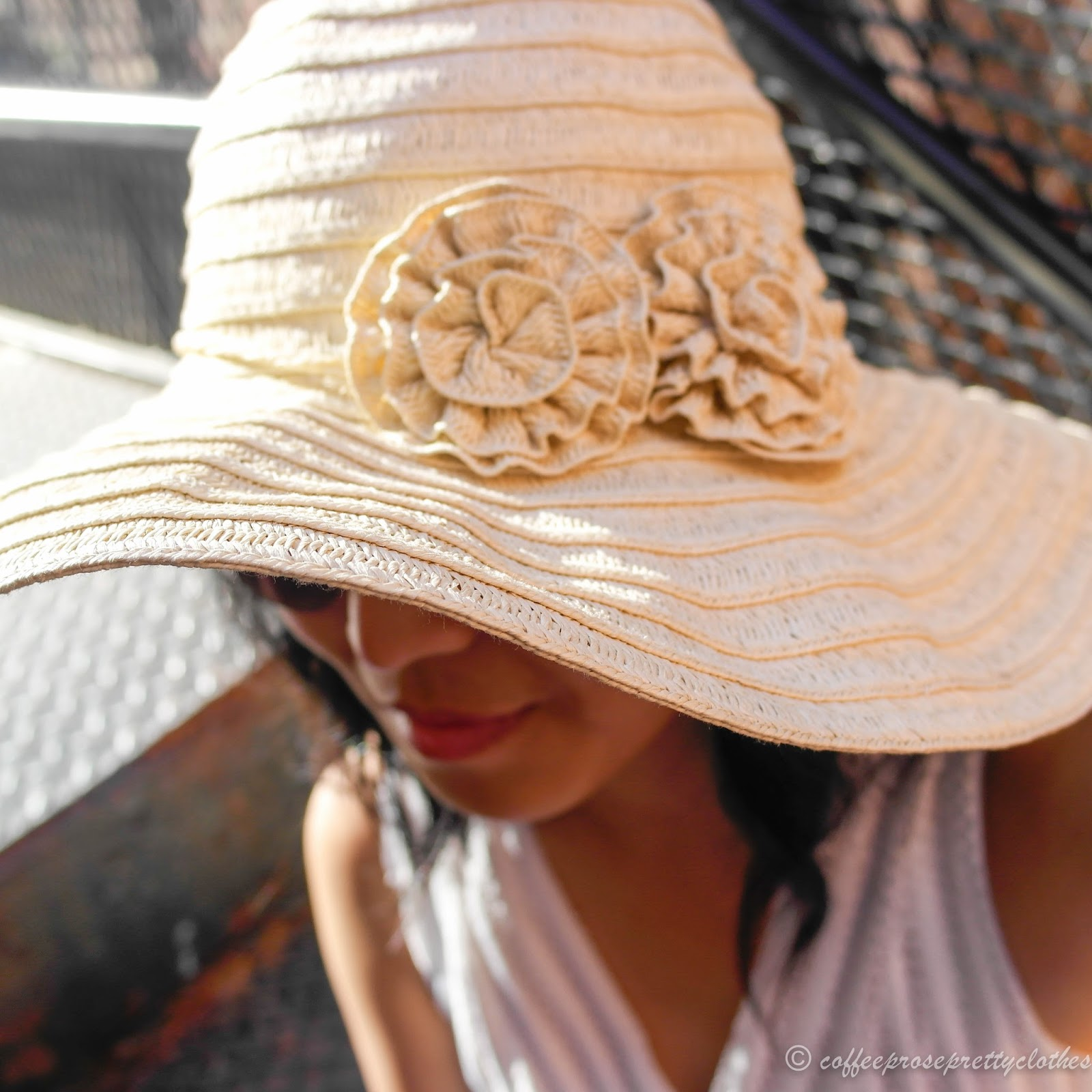 white mesh dress, straw hat, cobalt bag, sole society joesy