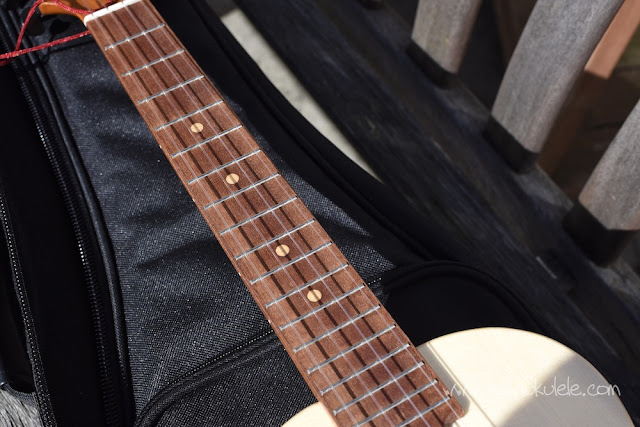 KoAloha Opio Spruce Tenor Ukulele fingerboard